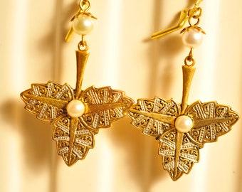 Handmade Vintage Brass and Pearl Leaf Earrings