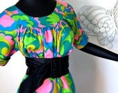 MOD Vintage 1960s 60s Twiggy goes to the Tiki Bar Neon Pink Green Blue Hawaiian Dress Sexy Loungwear Lounger Medium Large