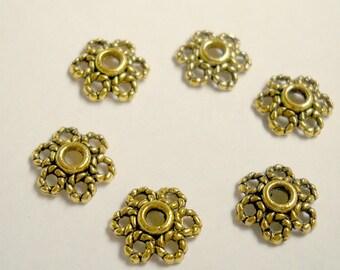 gold bead caps, antique color, fancy, 9.5x2.5mm, 12pcs