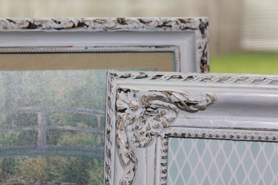 6 Shabby Chic Vintage hand painted Frame Set