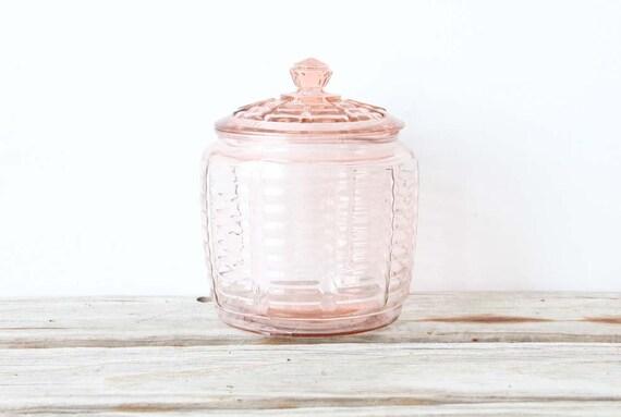 Depression Glass Pink Cookie Jar