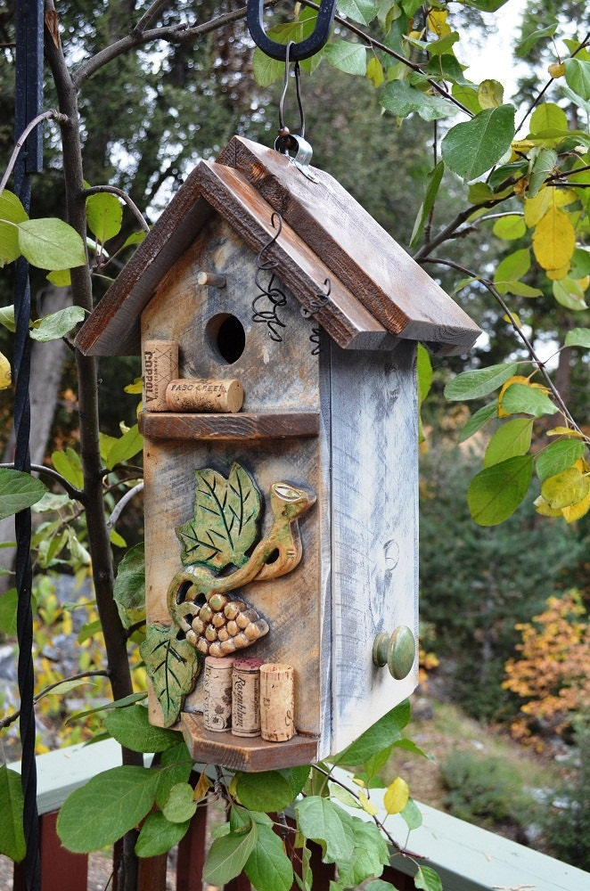 Birdhouse primitive wine cork storage box repurposed for How to build a birdhouse out of wine corks