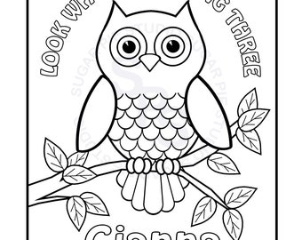 Personalized Printable Owl Birthday Party Favor Childrens Kids Coloring Page Book Activity PDF Or JPEG File