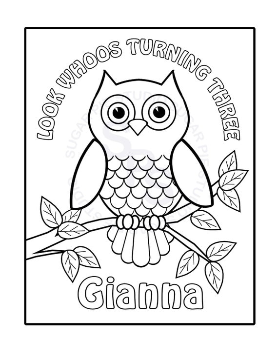 personalized birthday coloring pages | Personalized Printable Owl Birthday Party Favor childrens kids