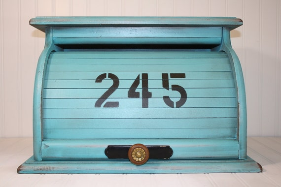 Vintage Rolltop Breadbox - Painted and Distressed