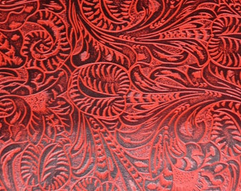"""Leather 8""""x10"""" RED and Black Western Tool Floral leaf pattern Cowhide Leather High Quality 3  oz/ 1.2 mm  PeggySueAlso"""