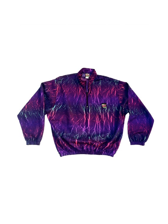 Rad 90s Neon Crackle-Print Surf Style Jacket - OS