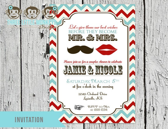 Vintage Mr and Mrs Couples Wedding Shower Party Invitation PLUS – Thank You Party Invitation