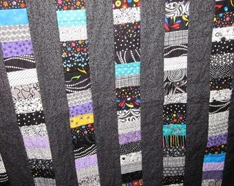 Black Quilted Coins Wall Hanging or lap quilt