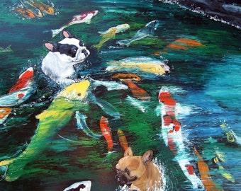 "French Bulldog Art Print of an original oil painting, 8"" x 10"", Dog Art, Koi Art,pond,Frenchie"