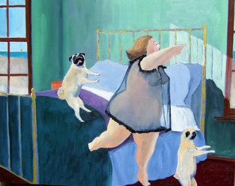 """Pug Art Print of an original oil painting / """"Midnight Snack Time"""" /zombies/ 8 x 10 / Dog Art"""