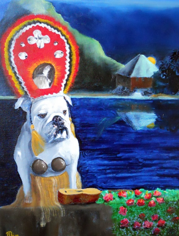 "English Bulldog Art Print / ""Coconuts"" / by Original Mike Holzer"