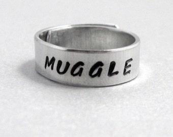Harry Potter Inspired Skinny Ring - MUGGLE - Hand Stamped Aluminum Wraparound Ring