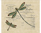 Teal dragonflies Paris French ephemera instant Digital download image for Iron on Fabric transfer paper burlap decoupage pillows  No. 650
