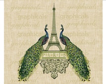 Paris Eiffel Tower Peacocks Instant clip art digital download image for iron on fabric transfer burlap decoupage paper pillows tote  No. 554