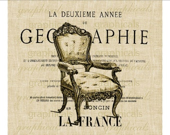 French chair ephemera Digital download graphic image transfer for iron on fabric burlap decoupage pillows tags cards totebag No. 1712