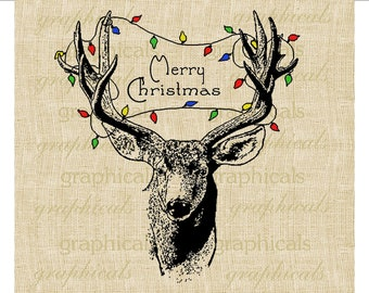 Christmas deer Tree lights Instant digital download image for iron on fabric transfer burlap decoupage pillows cards tote bags No. 1793