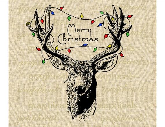 Christmas Deer Tree Lights Instant Digital Download Image For