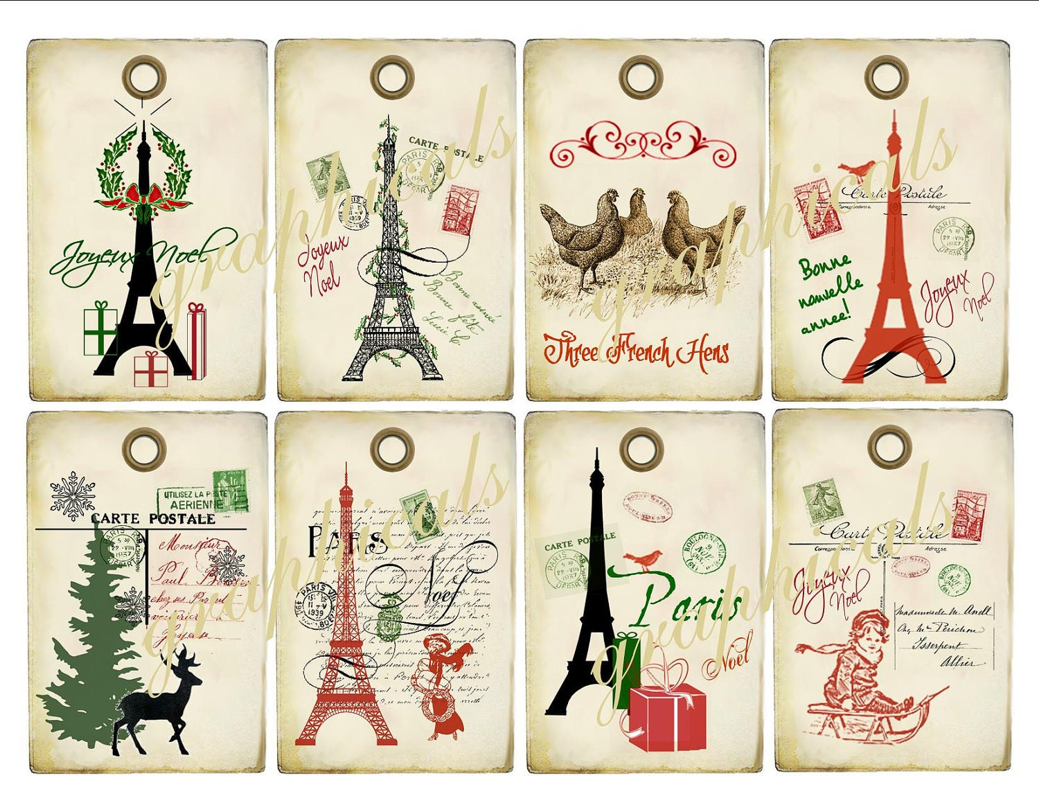 Christmas Tags: Vintage Collage Paris Christmas Tags Instant Digital By