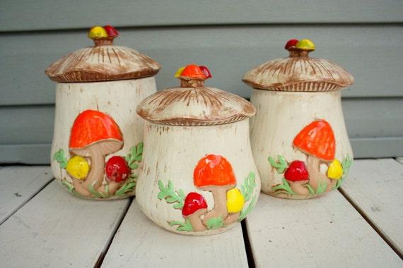 1970s retro Arnel's mushroom canisters. Set of 3