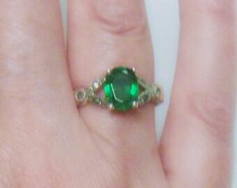 Green Quartz Ring - Sterling Silver - Marcasites - Vintage