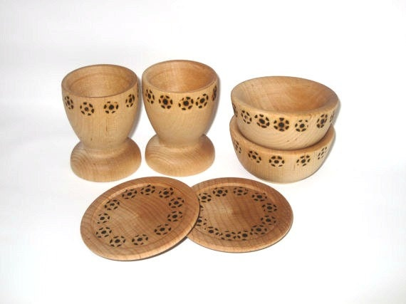 Mini Wooden dish play setting for two.