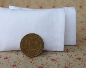 Dollhouse Miniature Set of 2 Solid White Bed Pillows - 1:12 scale