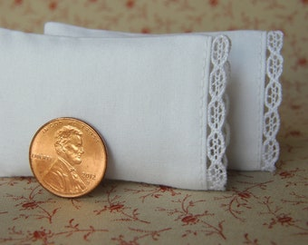 Miniature Pillows, Set of 2 White Bed Pillows with delicate filigree lace detail - 1:12 scale