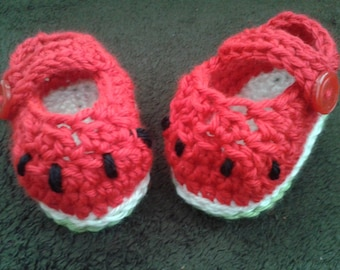 Crochet Watermelon shoes - size 3-6 months, an adorable baby shower gift, made to order