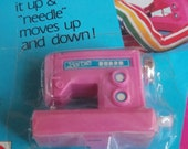 """Barbie Pink Sewing Machine - Vintage Action Accents - Just Wind It Up And The """"Needle"""" Moves Up And Down"""