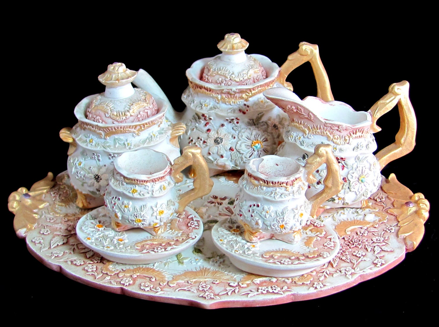 Vintage Miniature Teaset Ornate Regency Style Doll S By