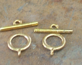 TOGGLE CLASPS GOLD 12mm jewelry findings 2 pair