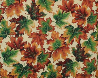 Fall Leaves Fabric Cotton Halloween Fall A Cranston Home Fashion Print Works Co. Autumn Discontinue 59 in. Wide 1 Yard