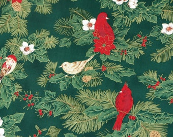 Red Robins Fabric Christmas Red Robins Bird Fabric Holiday Christmas Story by Fabric-Quilt Inc.100% Cotton 1 Yard.