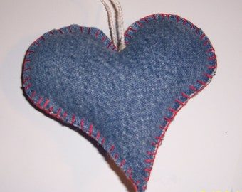 Upcycled Denim Heart Ornament