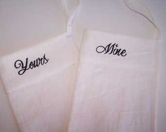 White Linen Shower Scrub Mitt Set, 100% Linen Bath Glove, Two Shower Mitts, Yours and Mine