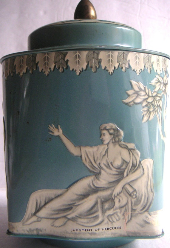 Vintage Rilye's Toffee Tin, Made in England by the Riley Brothers, Tea Caddy, Judgment of Hercules,Halifax,England