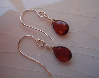 Small Sterling Silver & AAA Mozambique Garnet Pear/Briolette Drop Earrings