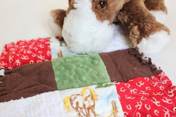 Horse Chenille Lovey in rag quilt style, baby shower gift, boy's cowboy minky patchwork blankey, horseshoe