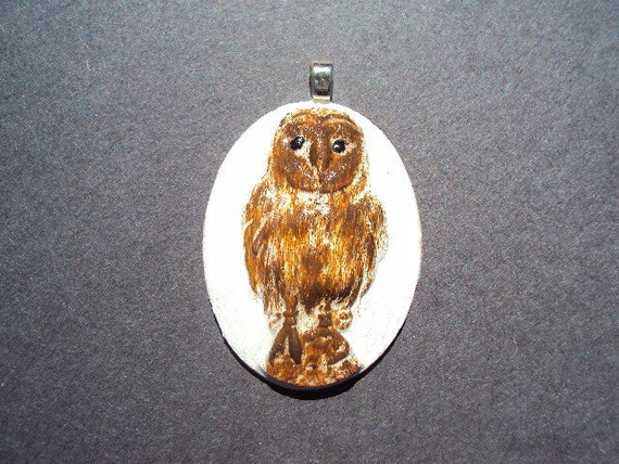 Sale Cast Cement Stone Standing Owl Pendant ooak Use Coupon