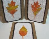 Handmade Postal-Inspired Autumn Leaves Set of 3 Notecards, No. 2