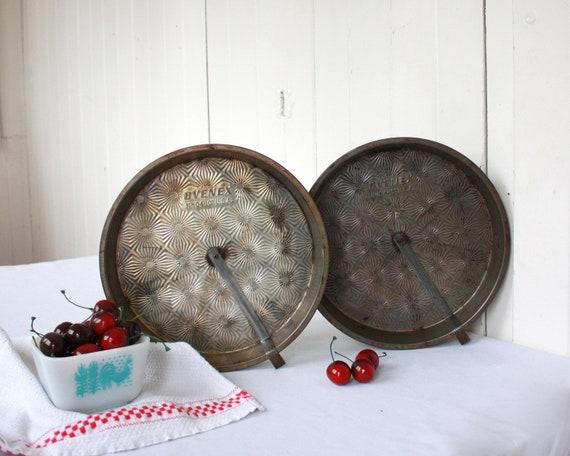 """Vintage Pie Tin, Ovenex Pie Tins, Pie Pan, Starburst Ovenex, Pie, 10"""" Pie Pan, Baking, Set of 2, Antique Pie Tin, Fall, Thanksgiving"""