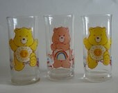 Pizza Hut 1983 Care Bear Glasses Funshine and  Cheer Bear Three Glass