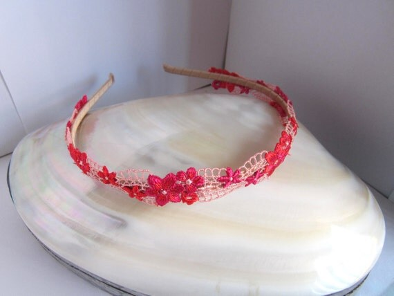Pink and red flower lace headband