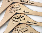 7 - Personalized Wedding Dress Hangers with Wedding Party Title Arm Inscription - Engraved Wood