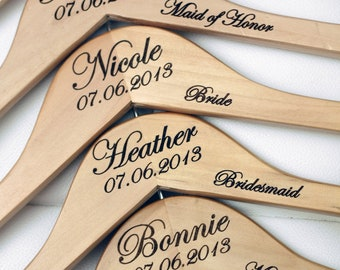 2 - Personalized Wedding Dress Hangers with Wedding Party Title Arm Inscription - Engraved Wood