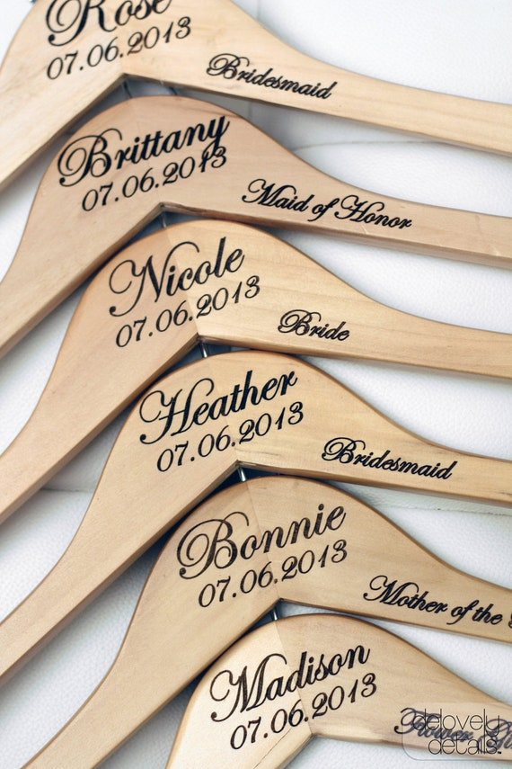6 personalized wedding dress hangers with wedding party for Personalized wedding dress hangers