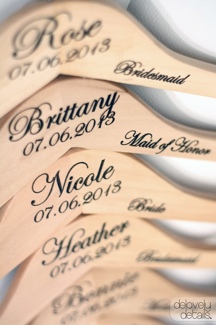 6 personalized wedding dress hangers with by delovelydetails for Personalised wedding dress hanger