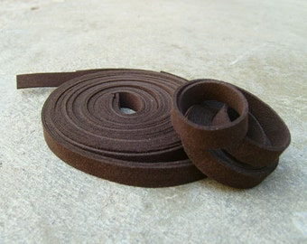 5 Yds(450 cm or 15Ft) Dark Brown -5 of 900X10mm Faux Suede Lace Straps-(FS10-30)