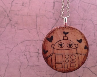 Robot in Love: Wood Pendant Necklace // Antique Bronze Long Chain // Gift for Her
